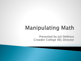 Manipulating Math