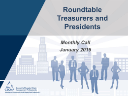 Treasurer`s Call (January 2015)