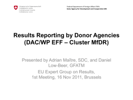 Results Reporting by Donor Agencies (DAC/WP