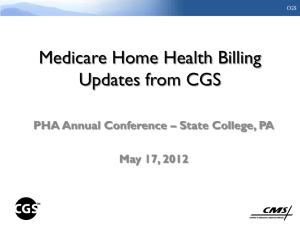 Medicare Home Health Billing Updates from CGS