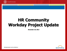 HR Community Workday Project Update