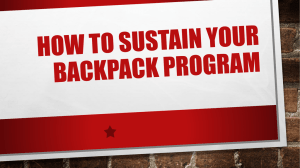 How to Sustain your backpack Program