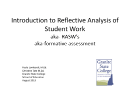 Formative Assessment - Granite State College