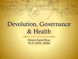 Devolution, Governance & Health