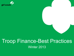 Troop Finance Best Practices Winter 2013 PowerPoint Presentation