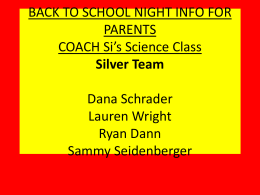 BACK TO SCHOOL NIGHT INFO FOR PARENTS COACH Si*s