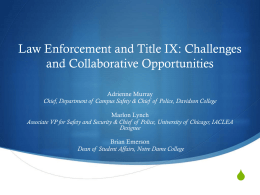 Law Enforcement and Title IX: Challenges and