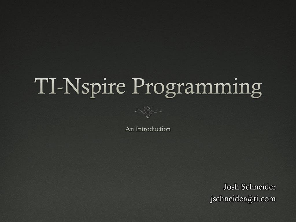 TI-Nspire Programming