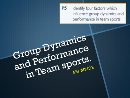 P5- Group dynamics and performance in team sports