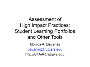 Assessment of High Impact Practices: Student Portfolios and Other