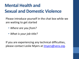 Mental Health and Domestic Violence Sexual Assault