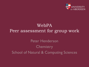 WebPA Peer assessment for group work