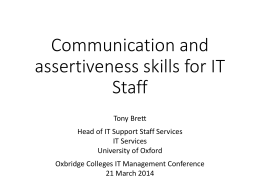 Communication and assertiveness skills for IT Staff