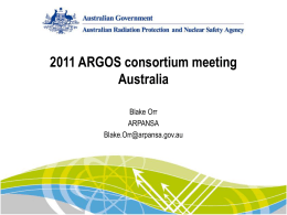 Australian presentation of using ARGOS