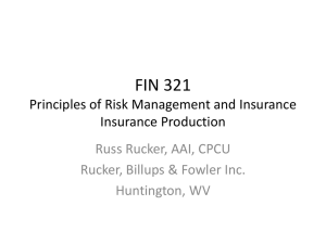 FIN 321 Principles of Risk Management and Insurance Insurance