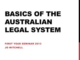 Basics of the australian legal system