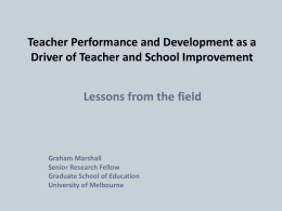 Teacher Performance & Development - GMarshall