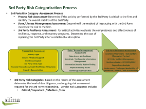 3rd Party Categories * Risk Assessment