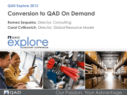 Conversion to QAD On Demand