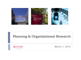 Planning & Organizational Research