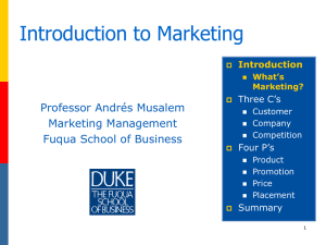 Introduction to Marketing - Duke University`s Fuqua School of Business