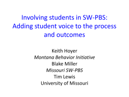 Involving students in SW-PBS: Adding student voice to the process
