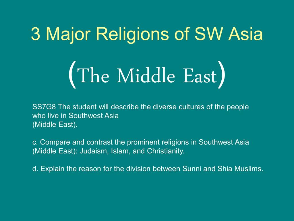 Major Religions Of SW Asia - 3 major religions