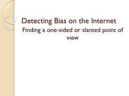 Detecting Bias on the Internet