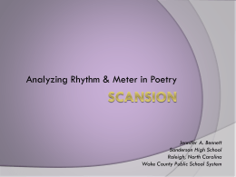 Rhythm and Scansion - Sanderson High School