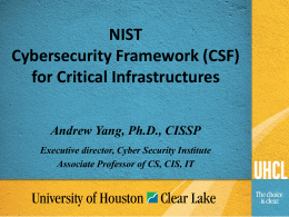 NIST Cybersecurity Framework (CSF) for Critical Infrastructures