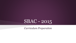 SBAC Curriculum Training PowerPoint