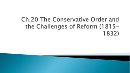 Ch.20 The Conservative Order and the Challenges of Reform (1815