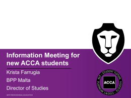 ACCA Orientation Meeting to New students