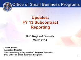 "Training eSRS: ""Updates: FY 13 Subcontract Reporting"" by Ms"