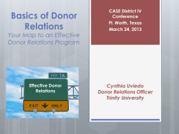 Basics of Donor Relations