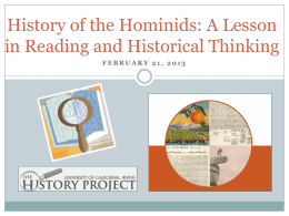 Early Hominids - School of Humanities