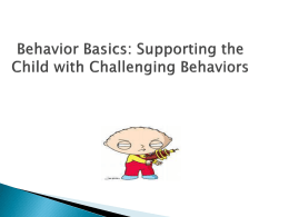 Behavior Basics: Supporting the Child with Challenging Behaviors