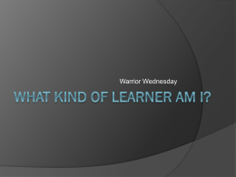 Week 3 - What kind of learner am I