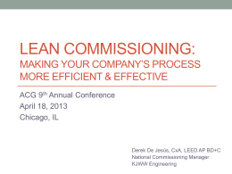 Lean Commissioning: How to Make your Process More Efficient and