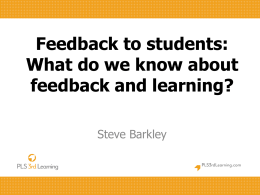 What do we know about feedback and learning?
