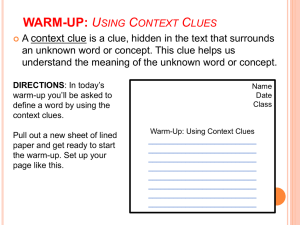 WARM-UP: Using Context Clues DIRECTIONS