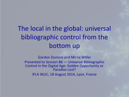The local in the global: universal bibliographic
