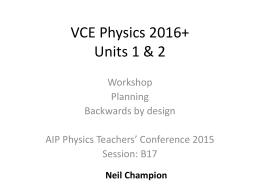 Units 1 & 2: Planning a course for 2016