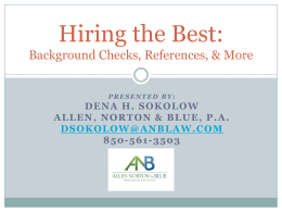 2014-01-30 Hiring the Best, Background Checks, References and