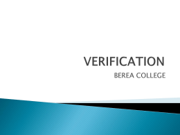 Verification in Banner