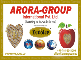 Brand - ARORA-GROUP International Pvt. Ltd.