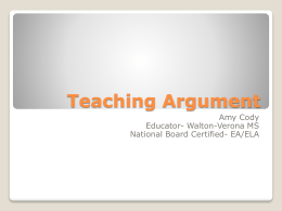 Teaching Argument - mscodysclass