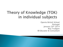 Theory of Knowledge (TOK) in individual subjects - OBS Live