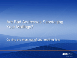 Are Bad Addresses Sabotaging Your Mailings?