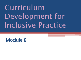 Curriculum Development for Inclusive Practice - Hull-Post-16